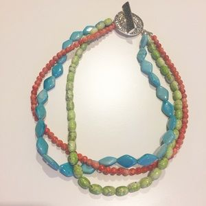 "Premier Designs three strand necklace. 18"" long."